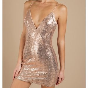 Alina Rose Gold Plunging Sequin Bodycon Dress